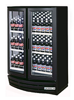 "Beverage Air MM14Y-1-B-W-LED 36"" Two-Section Refrigerated Display w/ Swing Doors, Bottom Mount Compressor, 115v"
