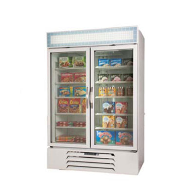"Beverage Air MMF44-1-W-LED 47"" Two-Section Glass Door Merchandiser w/ Swing Doors, 115v"