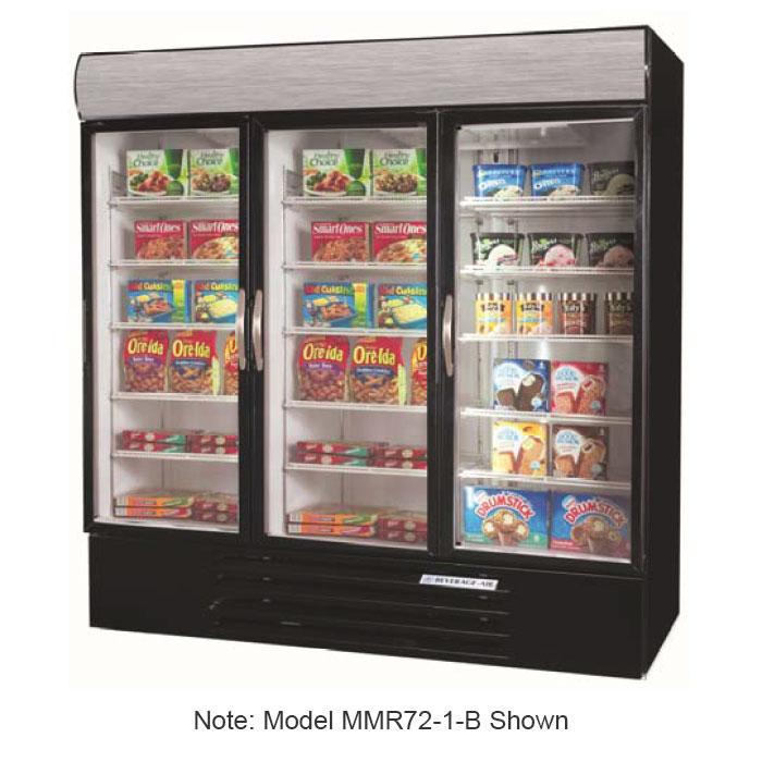 "Beverage Air MMF72-5-W-LED 75"" Three-Section Display Freezer w/ Swinging Doors - Bottom Mount Compressor, 208v/1ph"