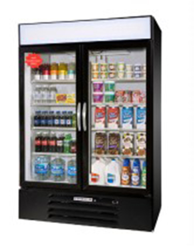"Beverage Air MMR44-1-B-LED 47"" Two-Section Refrigerated Display w/ Swing Doors, Bottom Mount Compressor, 115v"