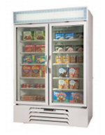 "Beverage Air MMR44-1-W-LED 47"" Two-Section Glass Door Merchandiser w/ Swing Doors, 115v"