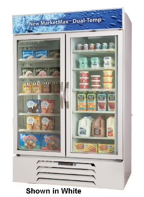 "Beverage Air MMRF49-1-B-LED 52"" Two-Section Refrigerated Display w/ Swing Doors, Bottom Mount Compressor, 115v"