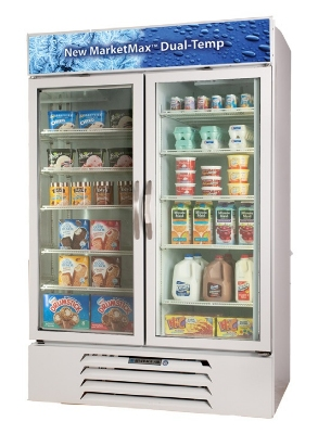 "Beverage Air MMRF49-1-W-LED 52"" Two-Section Glass Door Merchandiser w/ Swing Doors, 115v"