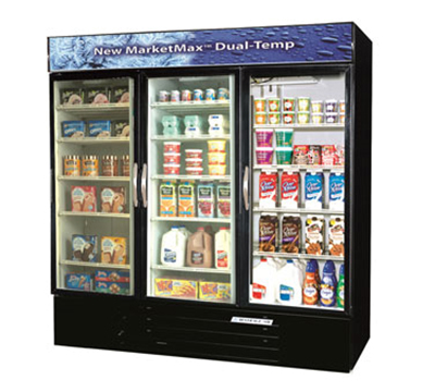 "Beverage Air MMRF72-1-B-LED 75"" Three-Section Refrigerated Display w/ Swing Doors, Bottom Mount Compressor, 115v"