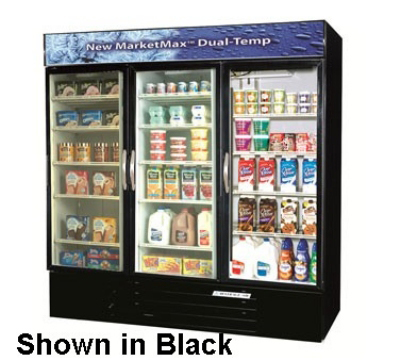 "Beverage Air MMRF72-1-W-LED 75"" Three-Section Refrigerated Display w/ Swing Doors, Bottom Mount Compressor, 115v"
