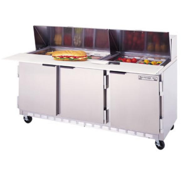 "Beverage Air SPE72-10C 72"" Sandwich/Salad Prep Table w/ Refrigerated Base, 115v"