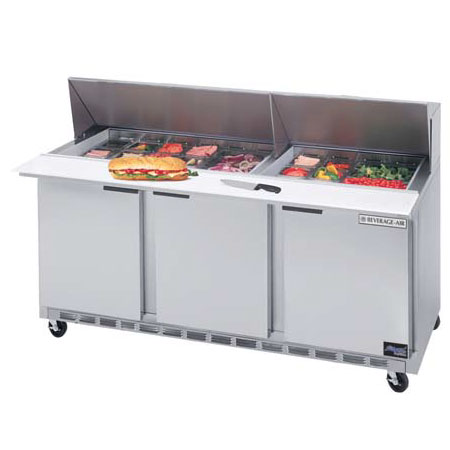 "Beverage Air SPE72-30M 72"" Sandwich/Salad Prep Table w/ Refrigerated Base, 115v"