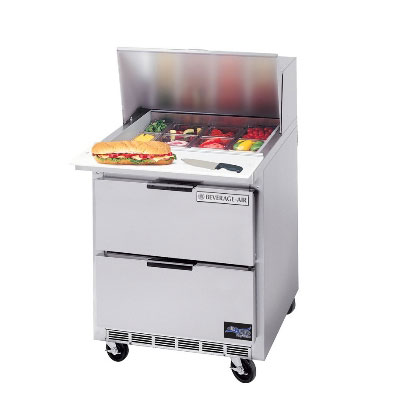 "Beverage Air SPED27-B 27"" Sandwich/Salad Prep Table w/ Refrigerated Base, 115v"