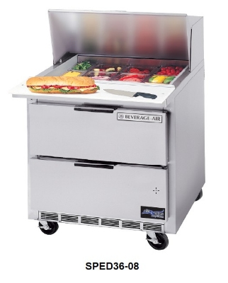 "Beverage Air SPED36-08 36"" Sandwich/Salad Prep Table w/ Refrigerated Base, 115v"