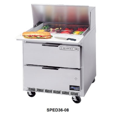 "Beverage Air SPED36-10 36"" Sandwich/Salad Prep Table w/ Refrigerated Base, 115v"