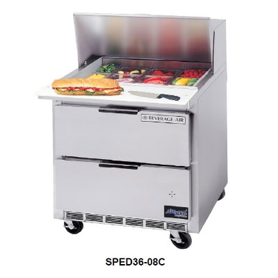 "Beverage Air SPED36-10C 36"" Sandwich/Salad Prep Table w/ Refrigerated Base, 115v"