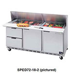 "Beverage Air SPED72-10-6 72"" Sandwich/Salad Prep Table w/ Refrigerated Base, 115v"