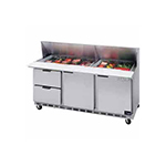 "Beverage Air SPED72-18-2 72"" Sandwich/Salad Prep Table w/ Refrigerated Base, 115v"