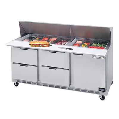 "Beverage Air SPED72-30M-4 72"" Sandwich/Salad Prep Table w/ Refrigerated Base, 115v"