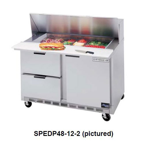 "Beverage Air SPEDP48-10-2 48"" Sandwich/Salad Prep Table w/ Refrigerated Base, 115v"