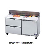 "Beverage Air SPEDP60-08-2 60"" Sandwich/Salad Prep Table w/ Refrigerated Base, 115v"