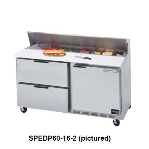 "Beverage Air SPEDP60-12-4 60"" Sandwich/Salad Prep Table w/ Refrigerated Base, 115v"