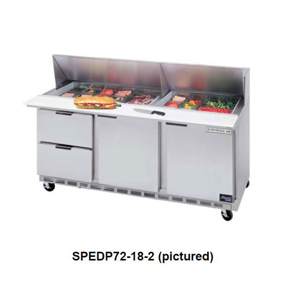 "Beverage Air SPEDP72-18-6 72"" Sandwich/Salad Prep Table w/ Refrigerated Base, 115v"