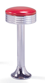 Vitro 1500782 Classic Fountain Stool, Grooved Revolving Seat, Chrome