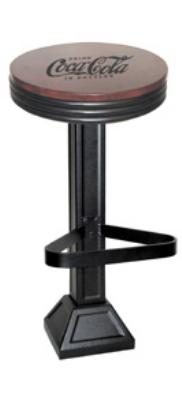 Vitro 180049CWD60630 Coke Vintage Logo, 30 in, Old Style Cast Iron Black Base w/ 606 Foot, Wood Seat
