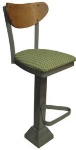Vitro 1800-INN-2220 BS PS Curved Wood Back Bar Stool w/ Square Steel Tubing, 1.25-in Pulled Seat