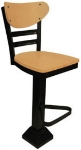 Vitro 1800-INN-2620 BS PS Curved Wood Back Bar Stool, Horizontal Metal Slat & 1.25-in Pulled Seat