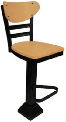 Vitro 1800-INN-2620 BS PS Curved Wood Back Bar Stool, Horizontal Metal Slat & 1.25-in Pulled Seat