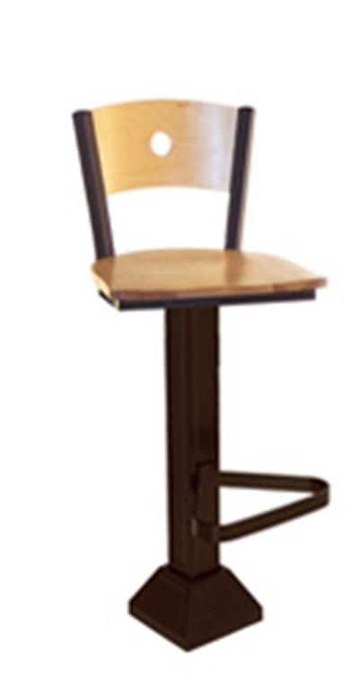 Vitro 1800 Lsc 550 Wooden Moon Back Pedestal Barstool W 1