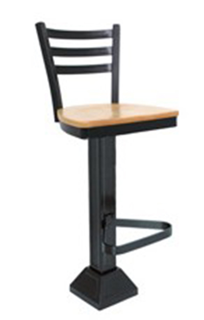 Vitro 1800-LSC-750 3-Rung Ladder Back Pedestal Barstool w/ 1.25-in Pulled Swivel Seat