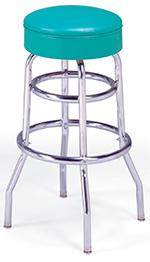 Vitro 215125R Bar Stool, Revolving Seat, Chrome, Double Foot Ring