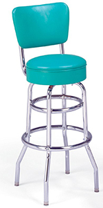 Vitro 215125RB Bar Stool, Revolving Seat & Back, Chrome, Double Foot Ring