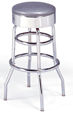 Vitro 21546 Bar Stool, Revolving Seat, Chrome, Double Foot Ring
