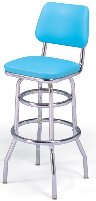 Vitro 215530 Bar Stool, Revolving Seat & Back, Chrome, Double Foot Ring