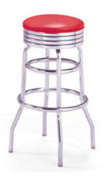 Vitro 21549NS Bar Stool, Revolving Seat, Chrome, Double Foot Ring
