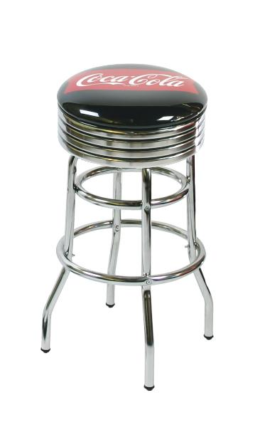 "Vitro 215782FT Bar Stool, Fishtail Coke Stool, 30""H, Chrome Ring w/ Black Stripping"