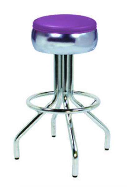 Vitro 250781 Bar Stool, Revolving Seat, Bulged Ring, Chrome, Foot Ring