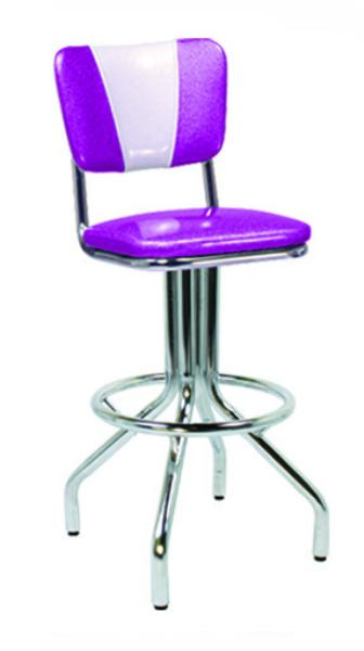 Vitro 250921V Bar Stool, Revolving Seat, V Back, Chrome, Foot Ring