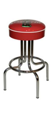 "Vitro 264125CBB Coke Bulls'-Eye Stool, 24"" Seat Height, Red Disc Icon, White Piping"