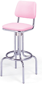Vitro 264530 Bar Stool, Revolving Seat & Back, Chrome, Single Foot Ring