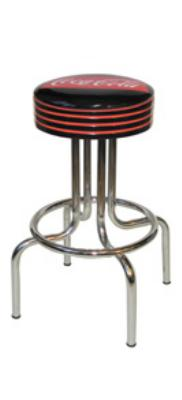"Vitro 264782FT Fishtail Coke Stool, Grooved Black Seat Ring w/ Red Stripes, Black, 24""H"