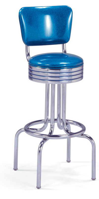 Vitro 264782RB Bar Stool, Revolving Seat & Back, Chrome, Single Foot Ring