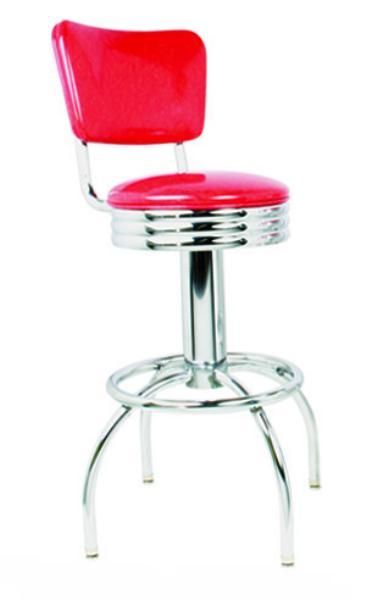 Vitro 30049NSRB Bar Stool, Revolving Seat & Back, Scalloped Ring, Chrome, Foot Ring
