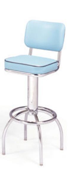 Vitro 300531 Bar Stool, Revolving Seat & Back, Chrome, Foot Ring
