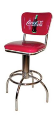 Vitro 300921CBB30 Coke Diner Stool, 30 in Height, Coke Button Logo on Back, White Piping