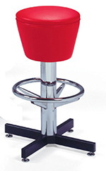 Vitro 500161 Bar Stool, Revolving Seat, Chrome Column & Foot Ring, Black Base