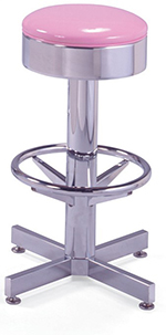 Vitro 50046 Bar Stool, Revolving Seat, Chrome Column & Foot Ring, Black Base