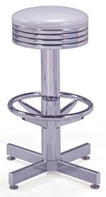Vitro 500782 Bar Stool, Grooved Ring Seat, Chrome Column & Foot Ring, Black Base