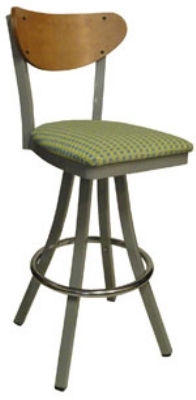 Vitro 600-INN-2220 BS PS Curved Wood Back Bar Stool w/ 1.25-in Pull Seat & Steel Tubing, Swivel