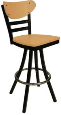 Vitro 600-INN-2620 BS PS Curved Wood Back Bar Stool w/ Horizontal Metal Slats, 1.25-in Seat, Swivel
