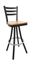 Vitro 600-LSC-750 3-Rung Ladder Back Barstool w/ 1.25-in Pulled Swivel Seat